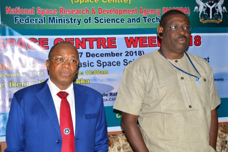 Directors of NASRDA-CSTD Abuja, Dr. Spencer and NASRDA-CAR Ayingba Prof. Rabiu