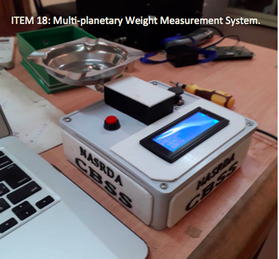 ITEM 18- Multi-planetary Weight Measurement System.