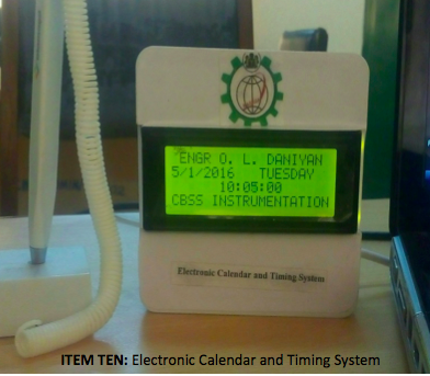 ITEM TEN- Electronic Calendar and Timing System